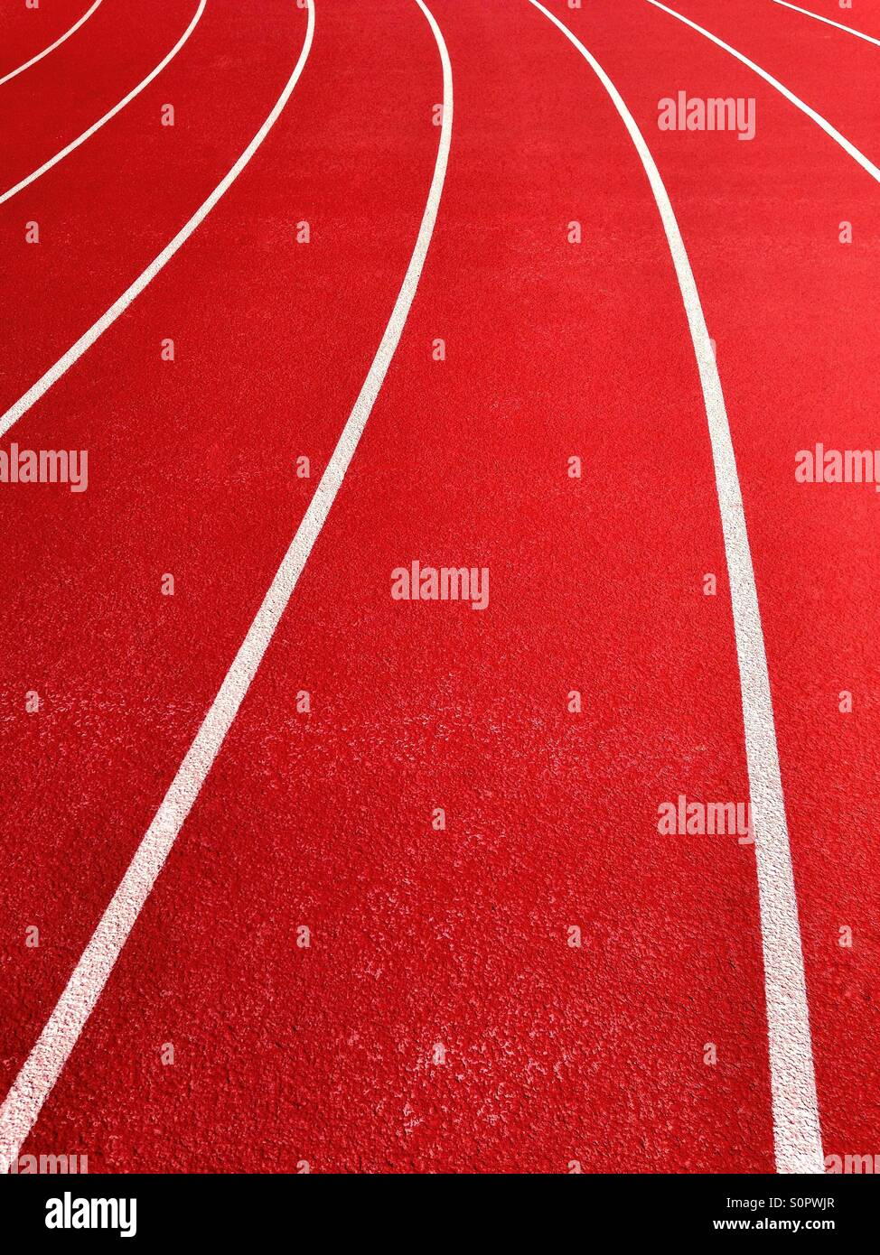 Lanes on running track - Stock Image
