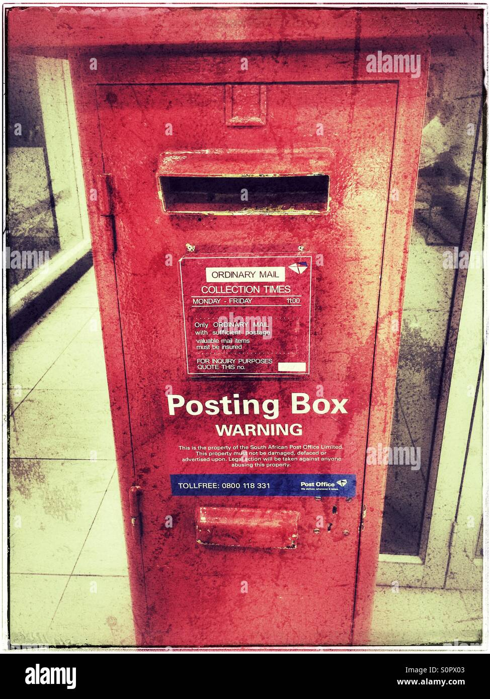 South African post box. - Stock Image