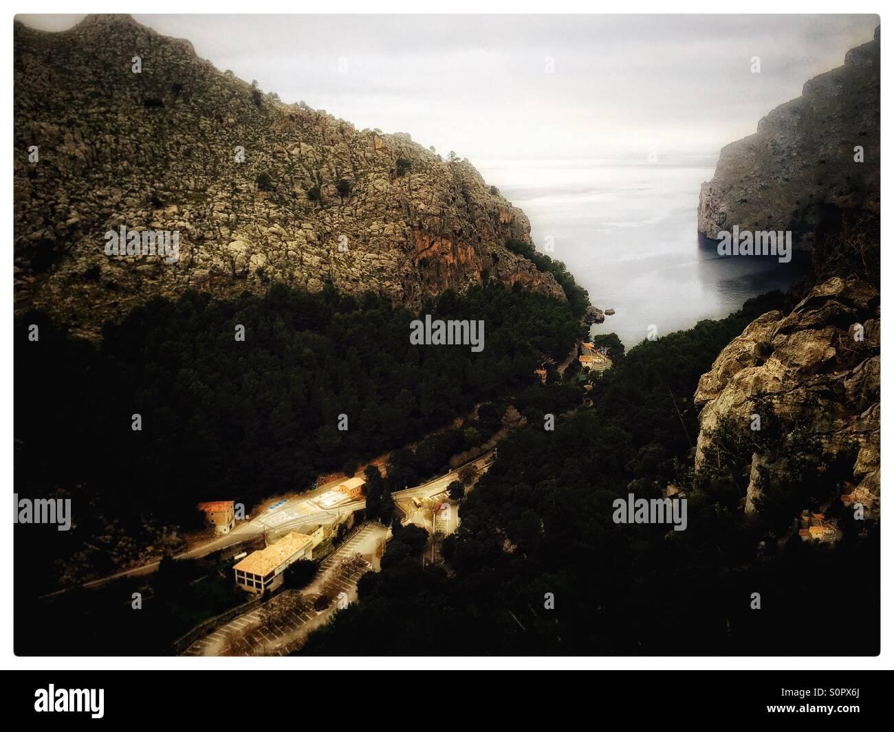 Bird eye view of Port De Sa Calobra - Stock Image