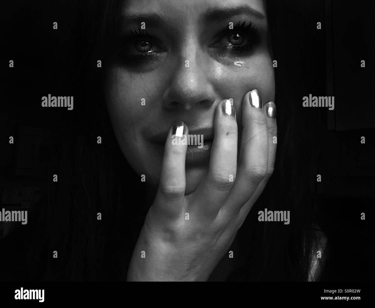 Black and white closeup of woman crying · dreamerjl83 stockimo alamy stock photo
