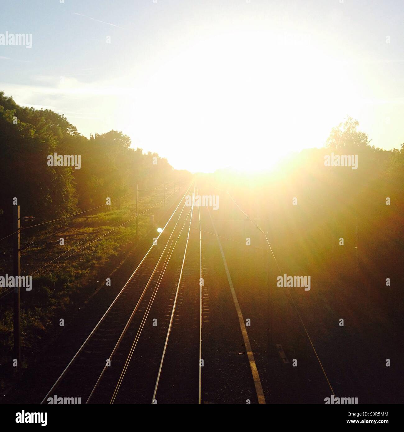 Train lines in right sunlight - Stock Image