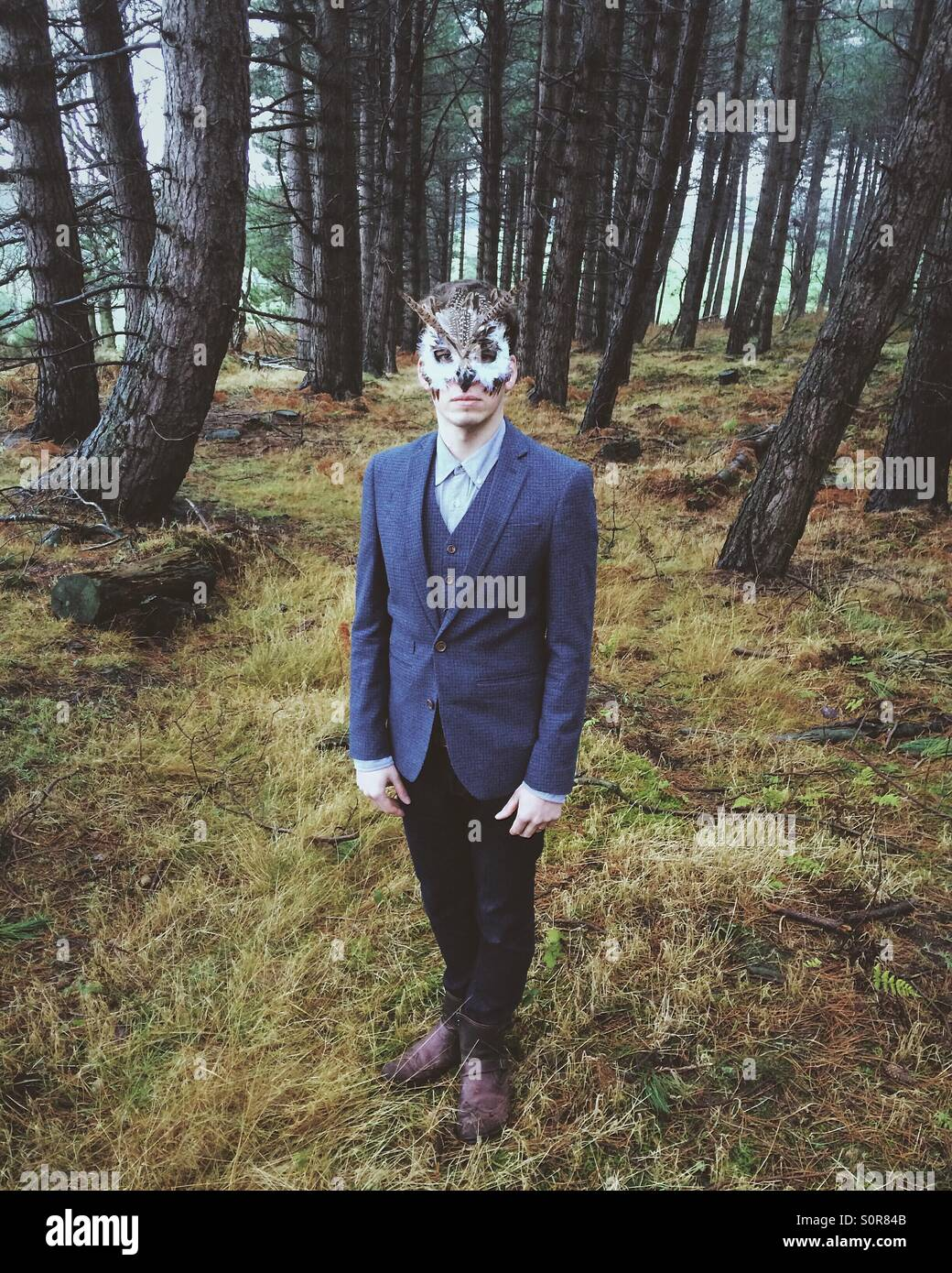 A young man wearing an owl masquerade mask in a forest. - Stock Image
