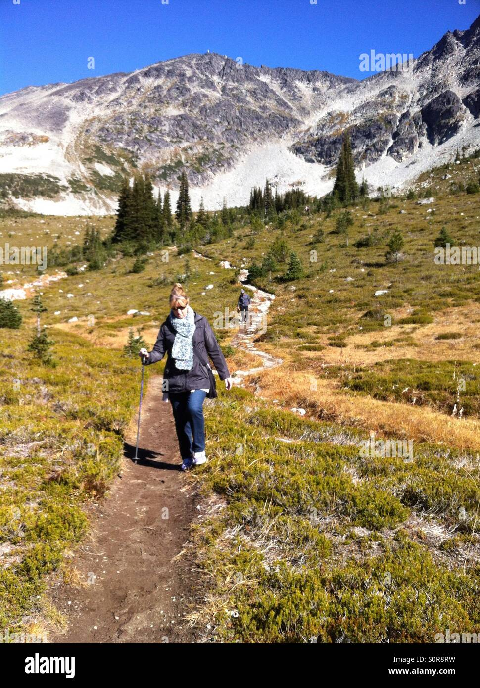 Hiking in the mountains of Whistler, Canada in Summer - Stock Image