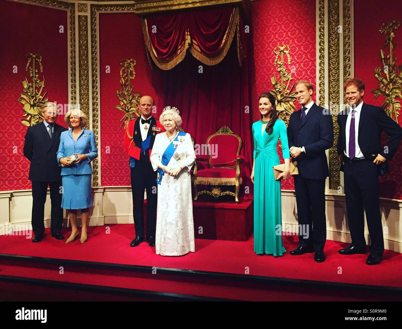 The wax figurines of the Royal Family at Madame Tussaud's, London. - Stock Image