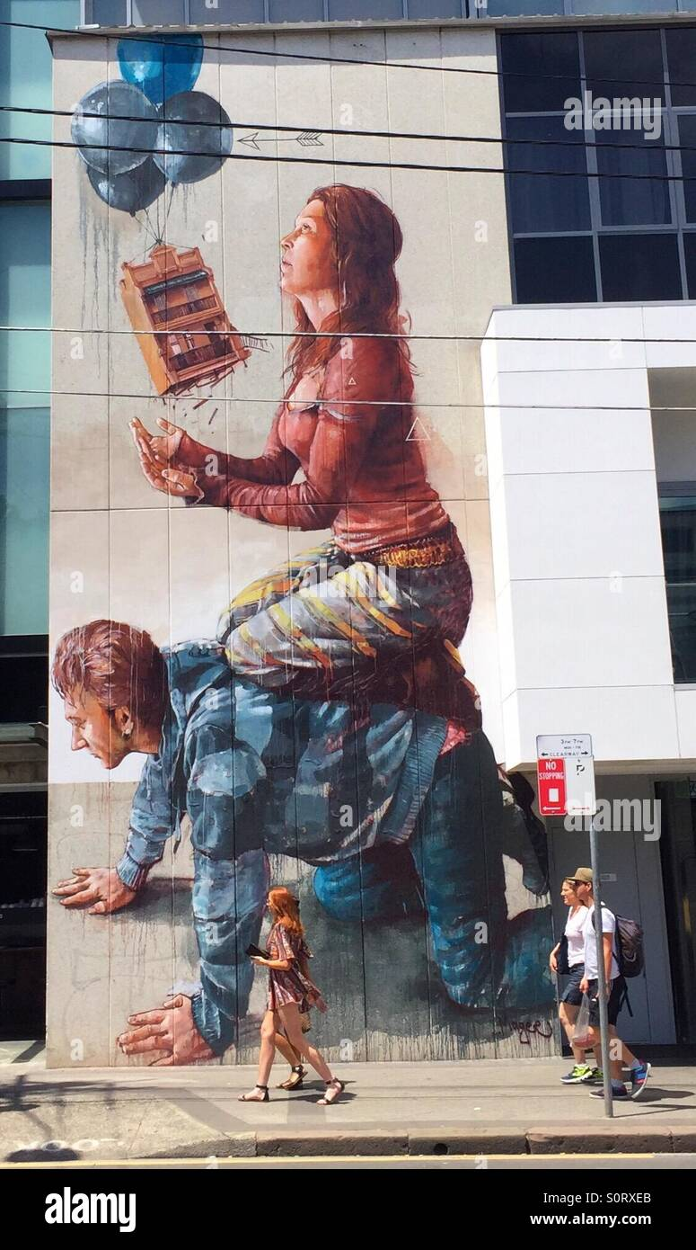 Street art by Fintan Magee in Newtown, Sydney, New South Wales, Australia. - Stock Image