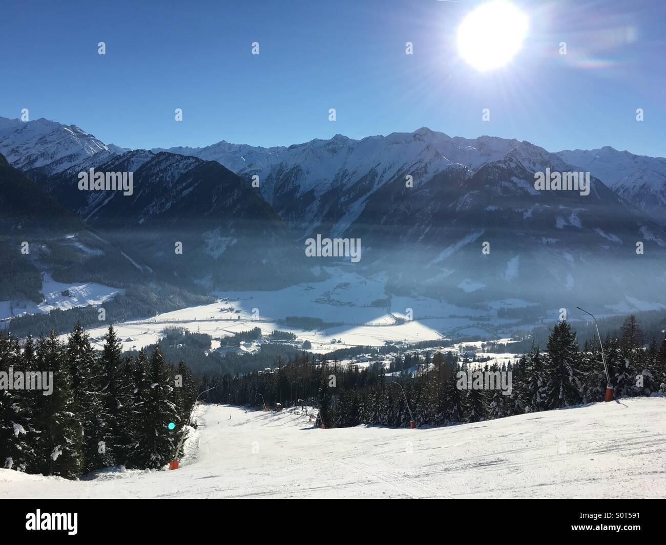 Neukirchen Austria mountain view piste - Stock Image