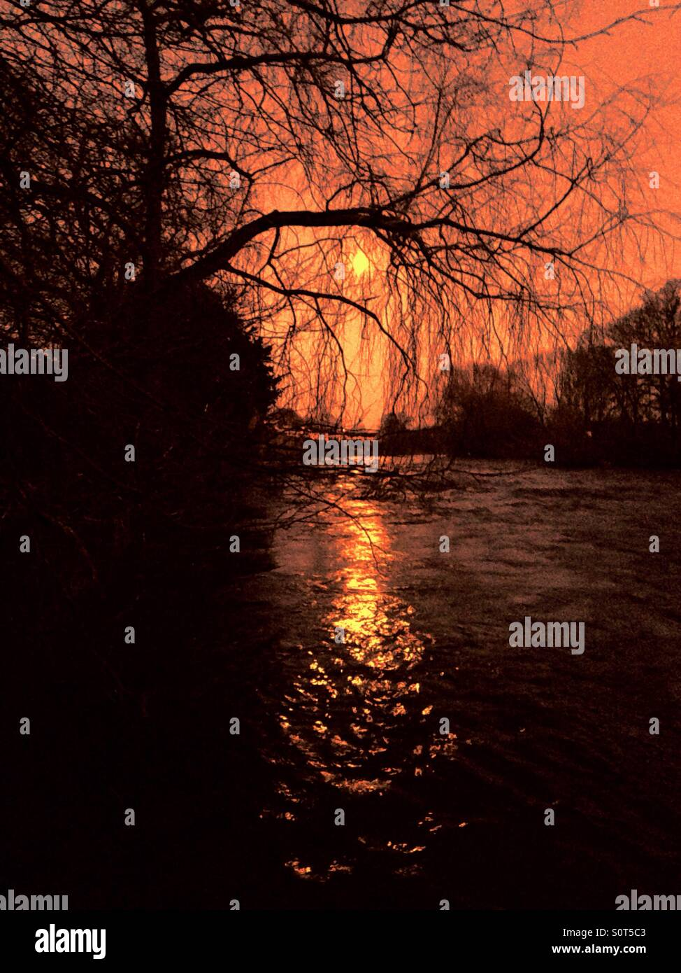 Sunrise over the River Tees - Stock Image