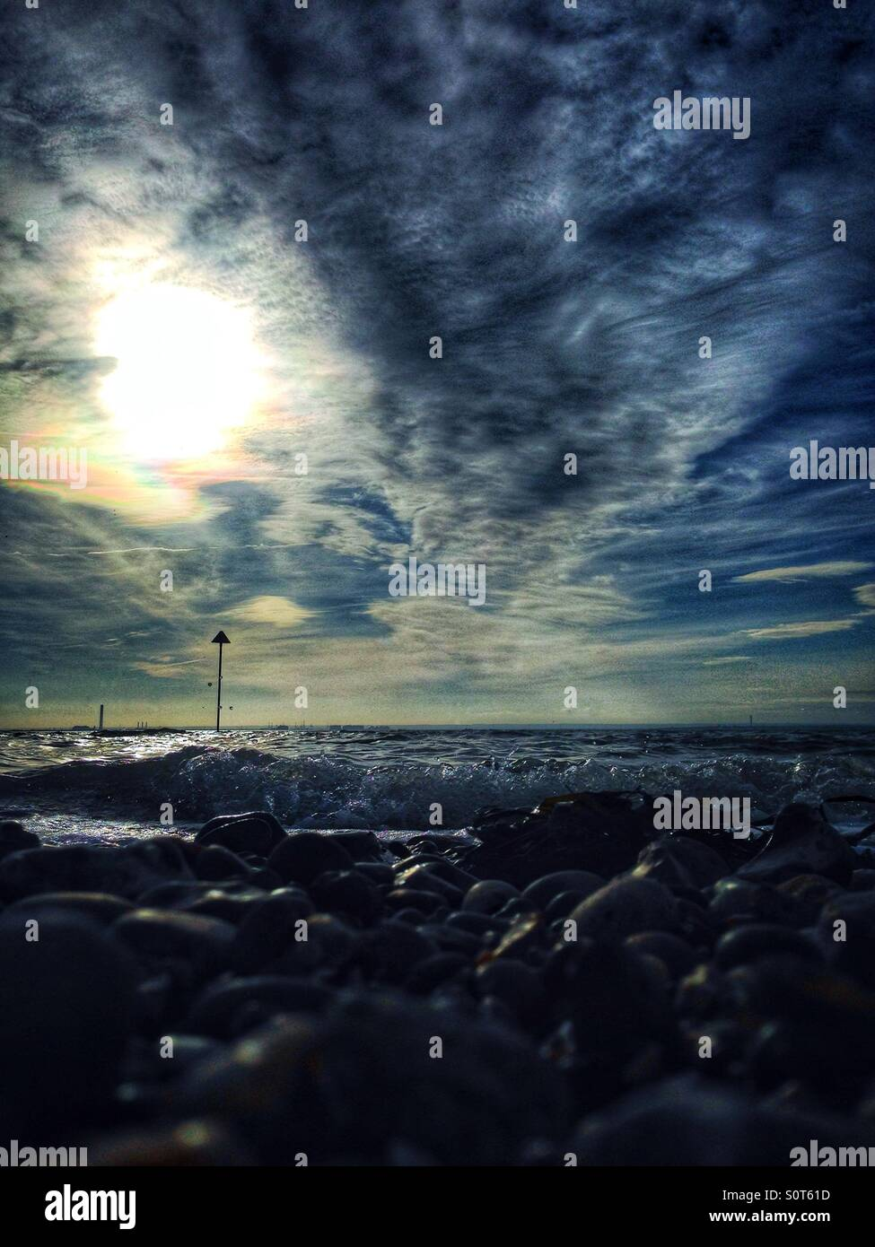 Contrasty seascape, strong skyline Stock Photo