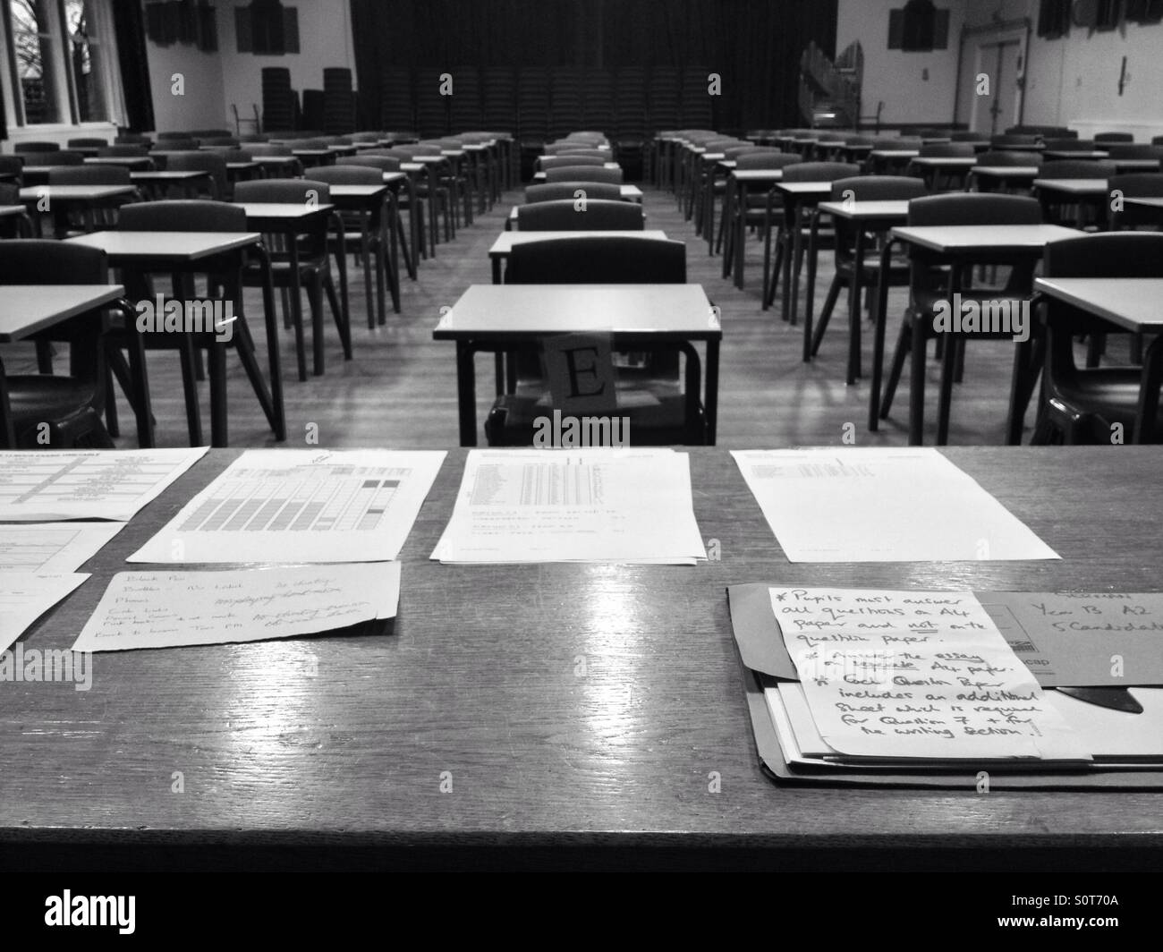Exam hall laid out for exams stock photo alamy