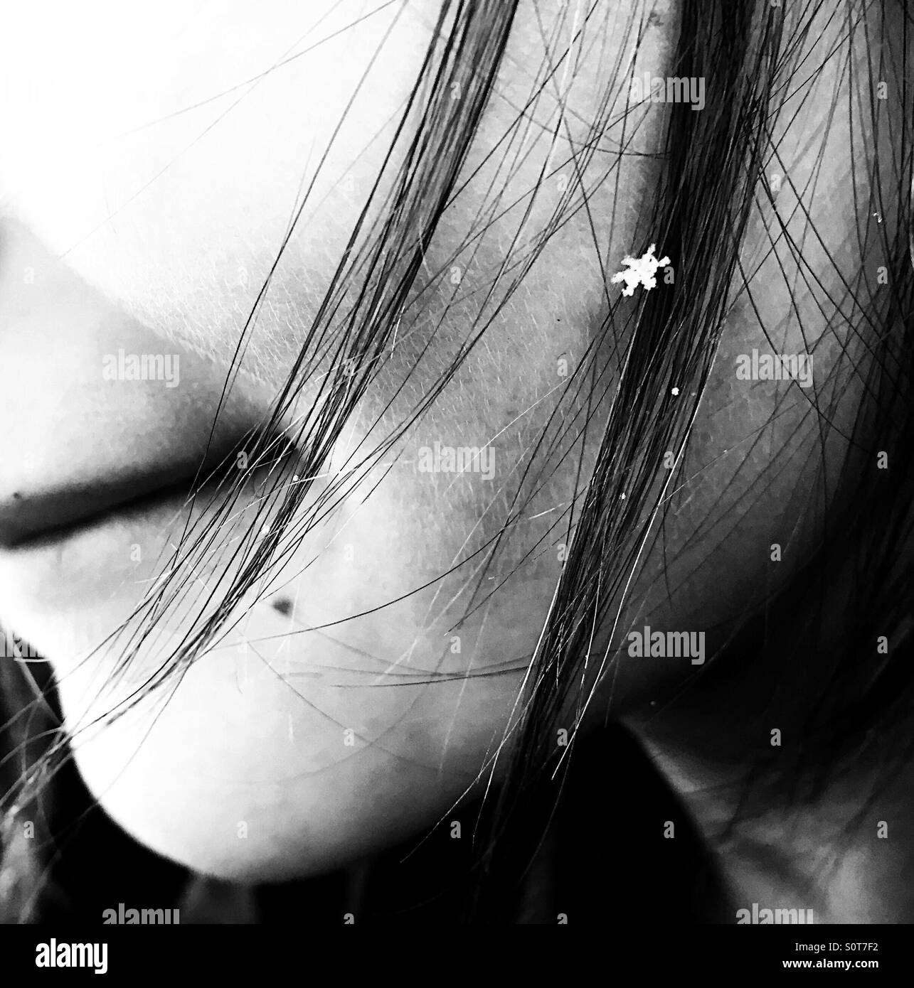 One perfect little snowflake in a girl's hair. - Stock Image