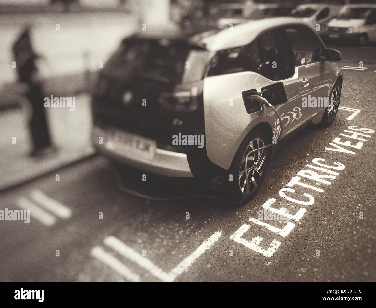 Electric vehicle charging bay - Stock Image
