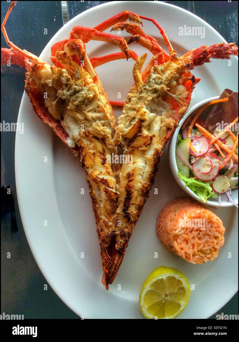 Cape rock lobster with rice and salad. - Stock Image