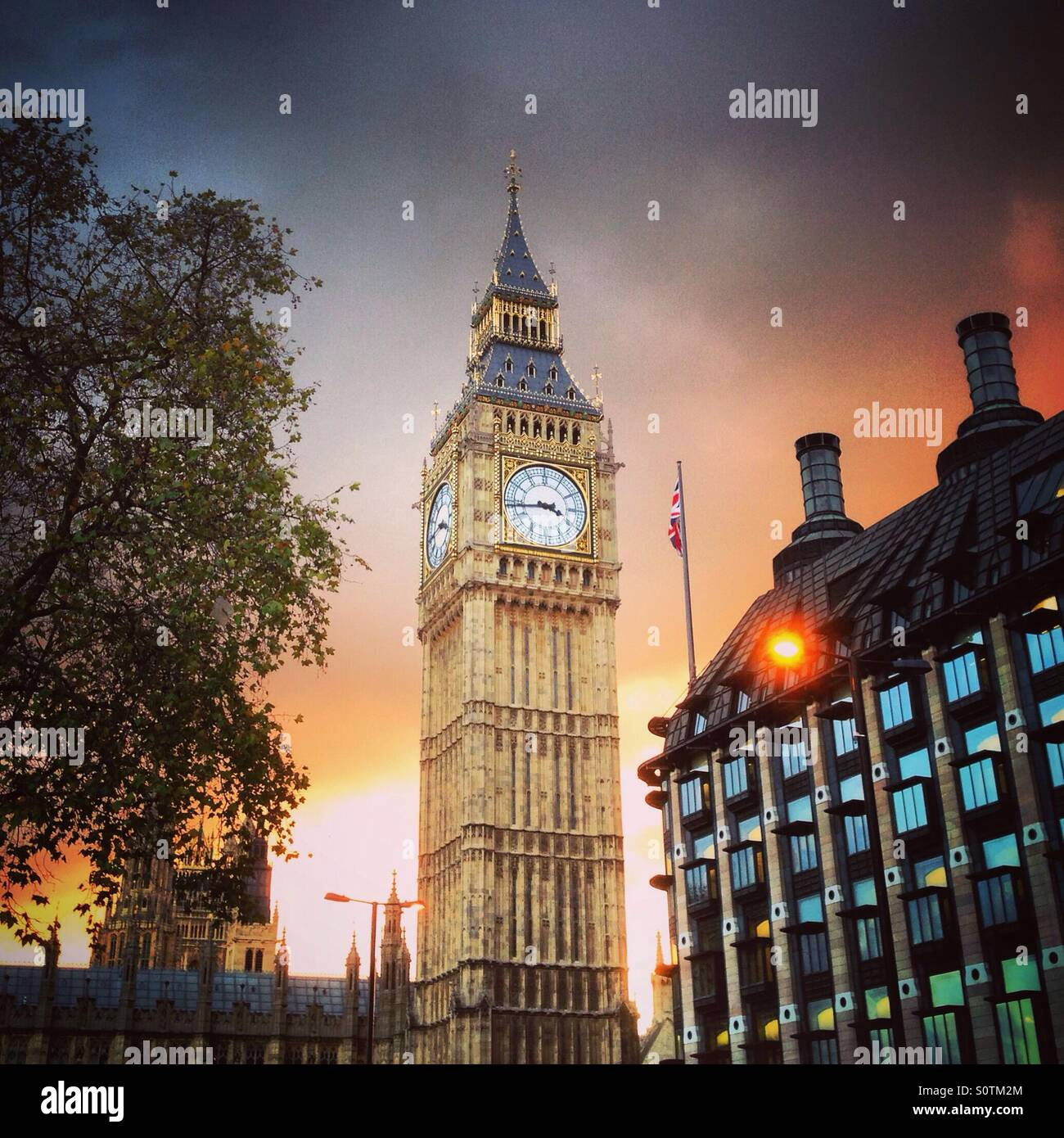 Big Ben at Sunset, the Houses of Parliament, Westminster, London. - Stock Image