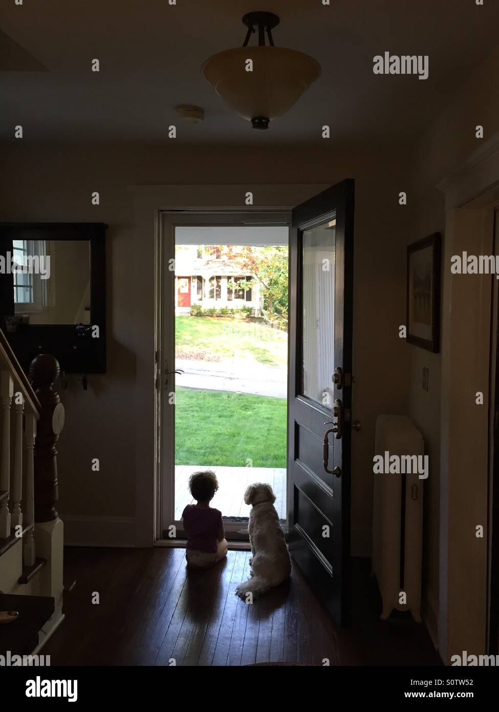 Friends: a girl and her dog look out the front door - Stock Image