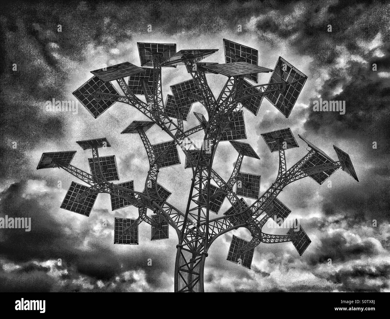 A Monochrome Image of The Energy Tree situated in Millennium Square near the At-Bristol Science Centre. Bristol, Stock Photo