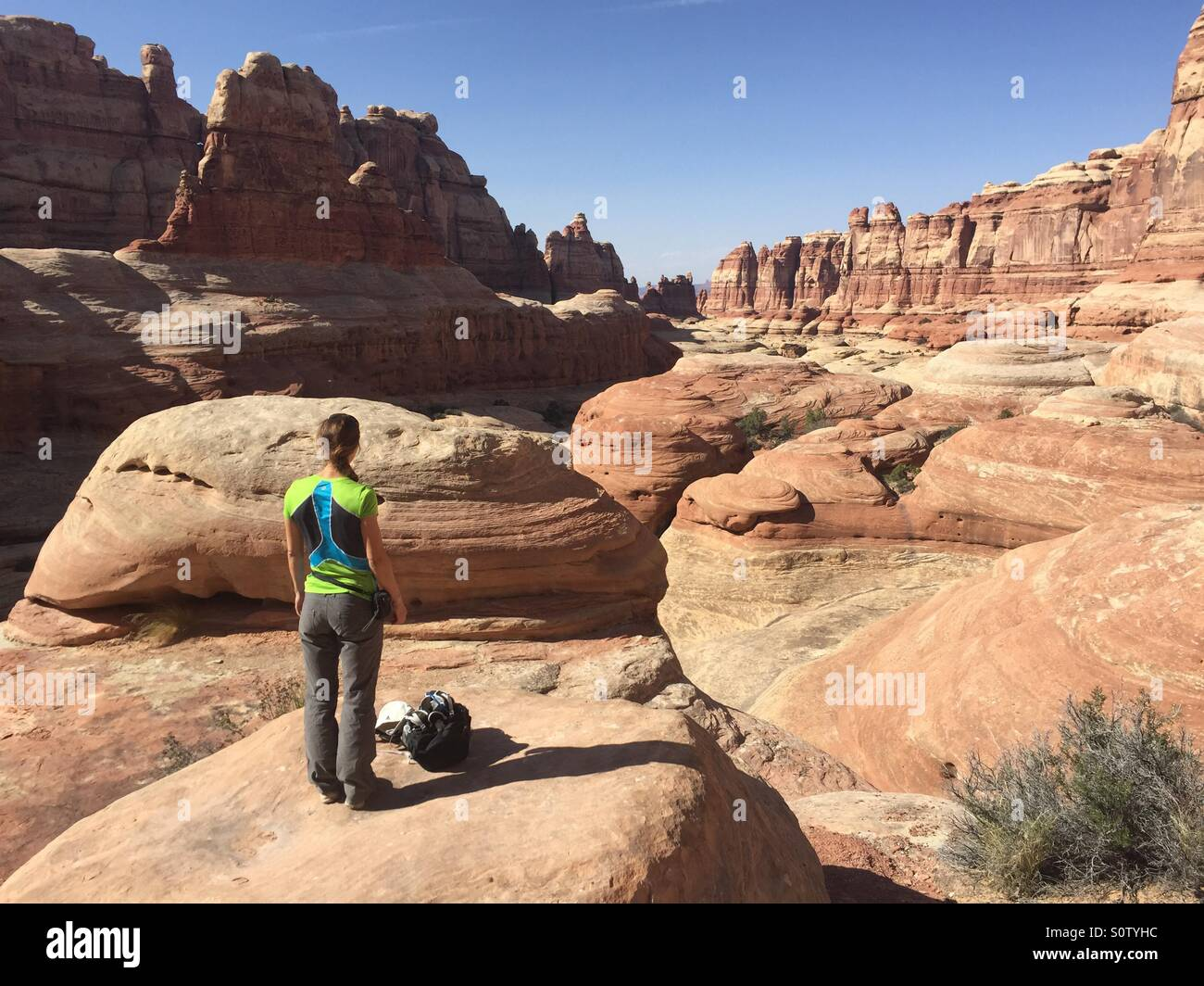 Hiker in Canyonland, Utah - Stock Image