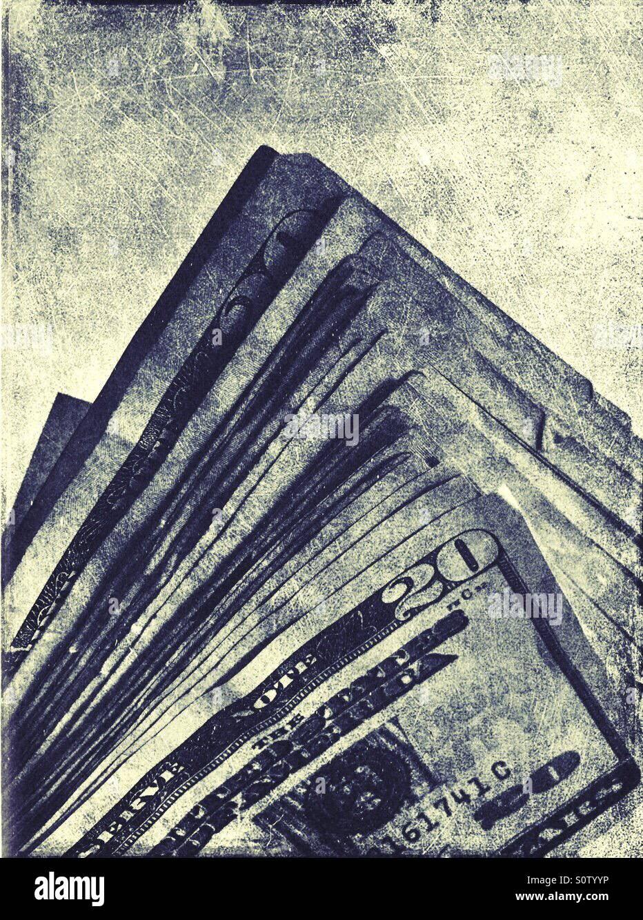 Stack of five hundred American dollars in twenty dollar bills - Stock Image