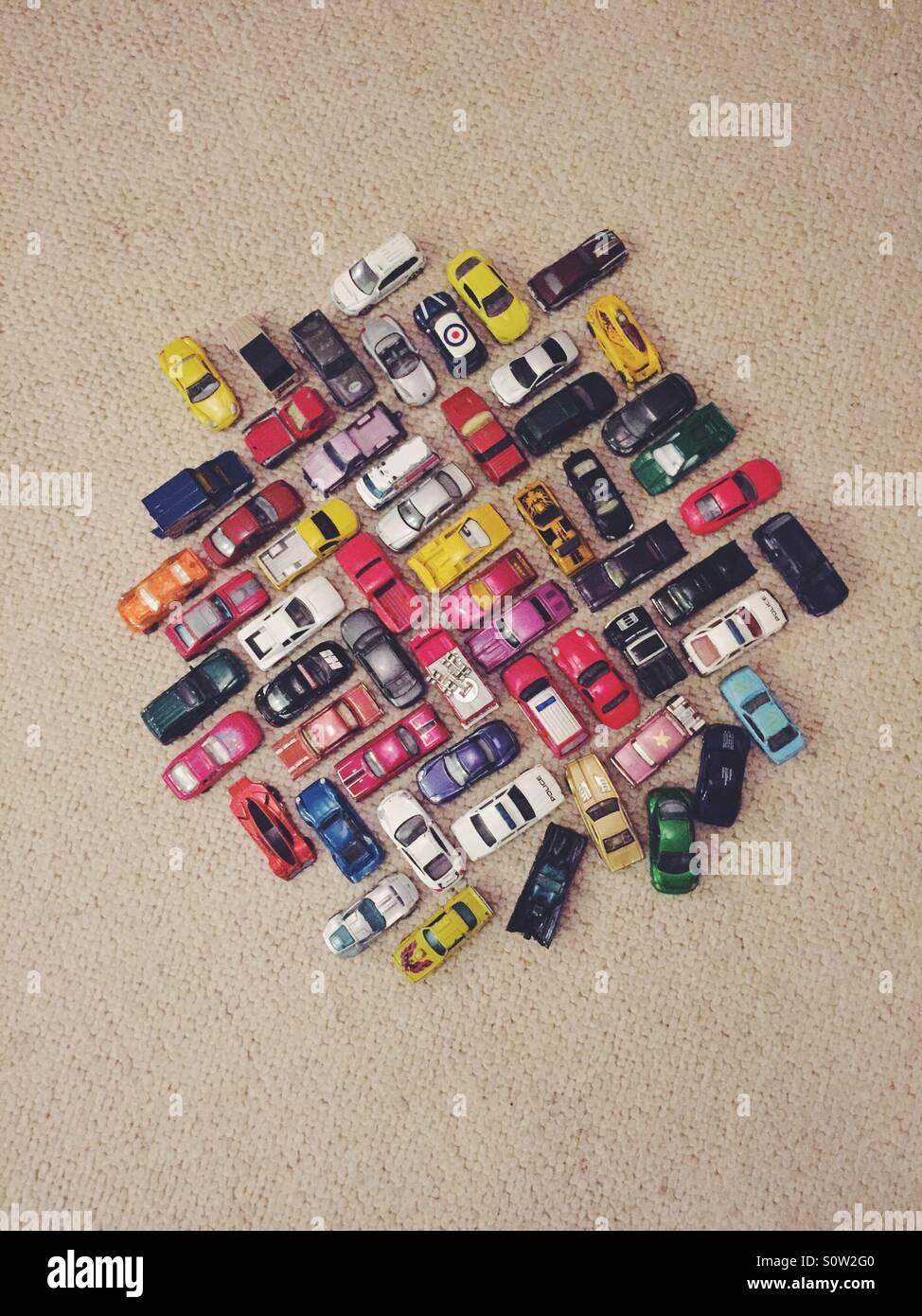 Traffic jam on the carpet. Stock Photo