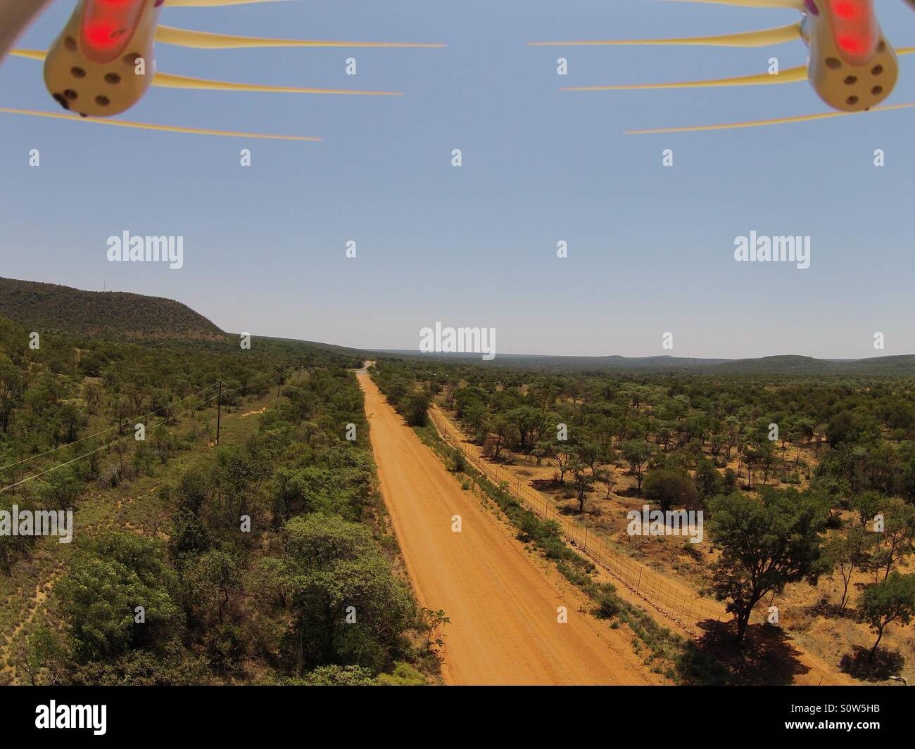 Drone flight over Africa - Stock Image