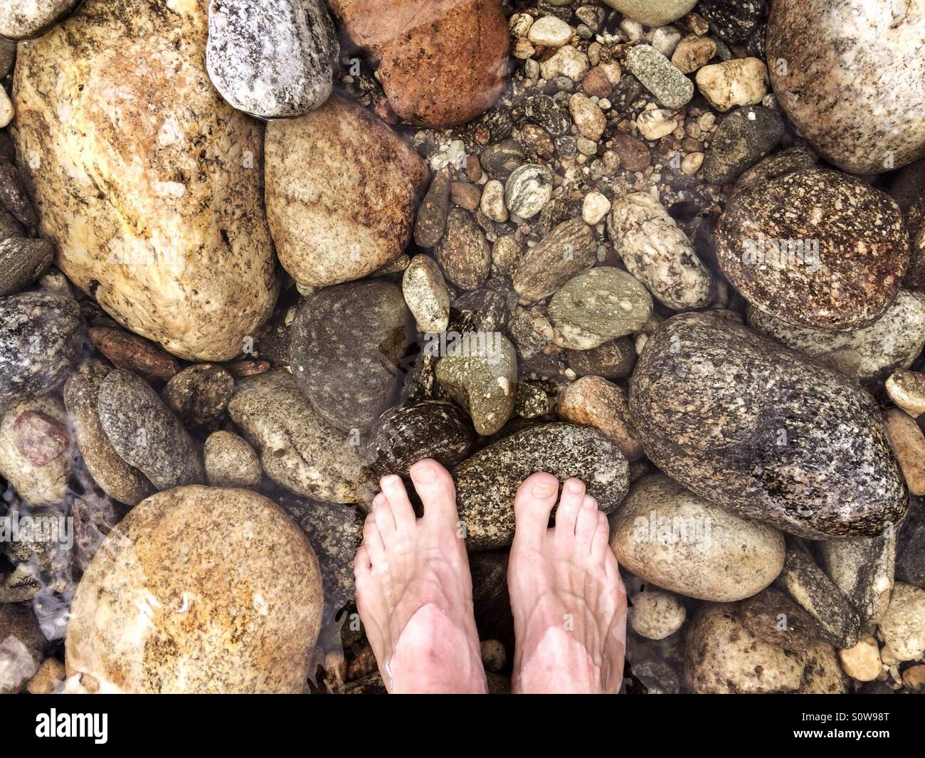 Feet in ice cold mountain stream, New Zealand Stock Photo