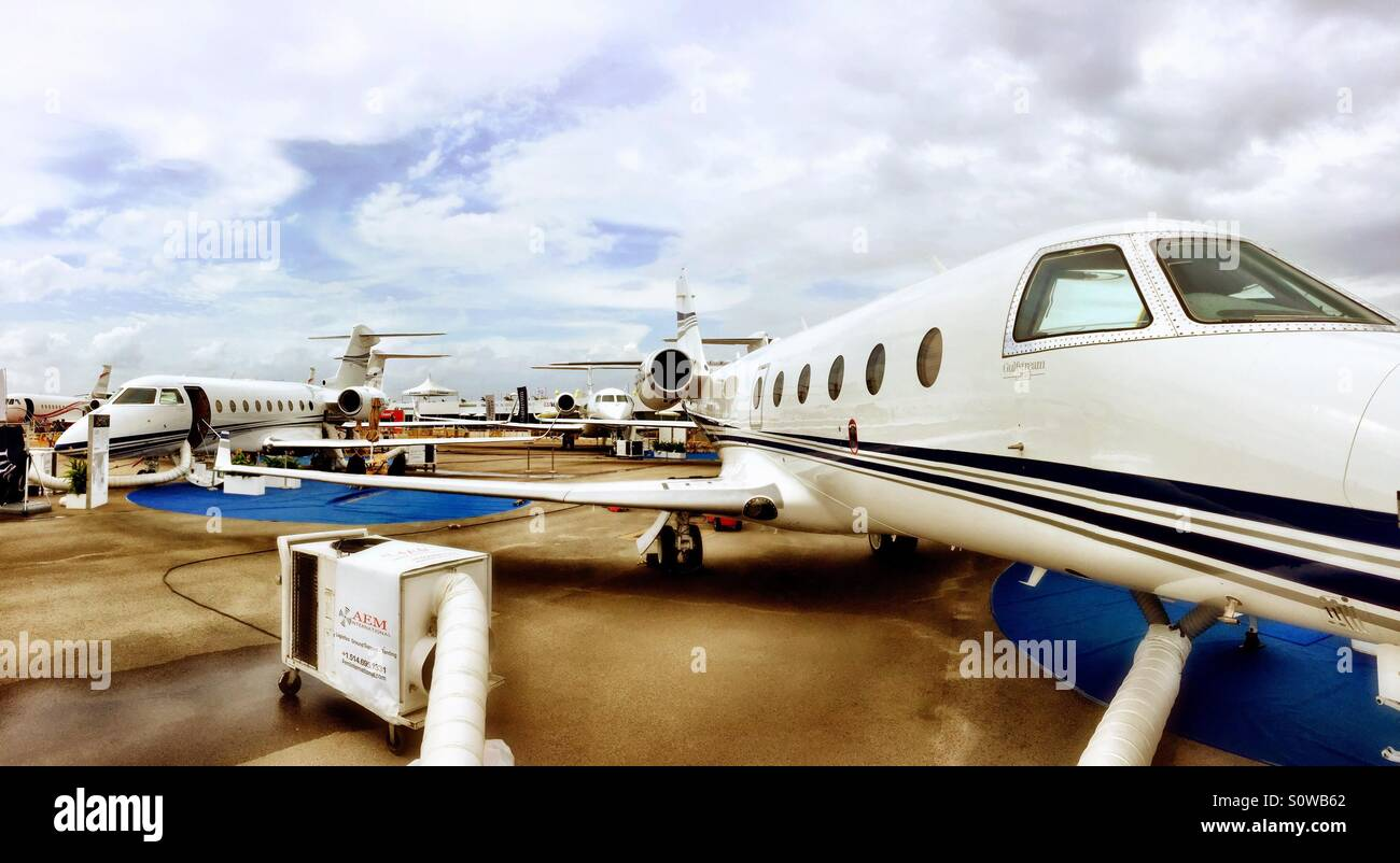 Gulf Stream 450 aeroplanes parked at the Singapore air show 2016 - Stock Image