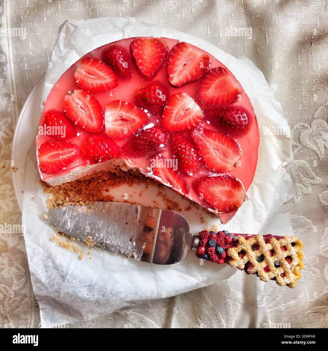Strawberry cheesecake - Stock Image