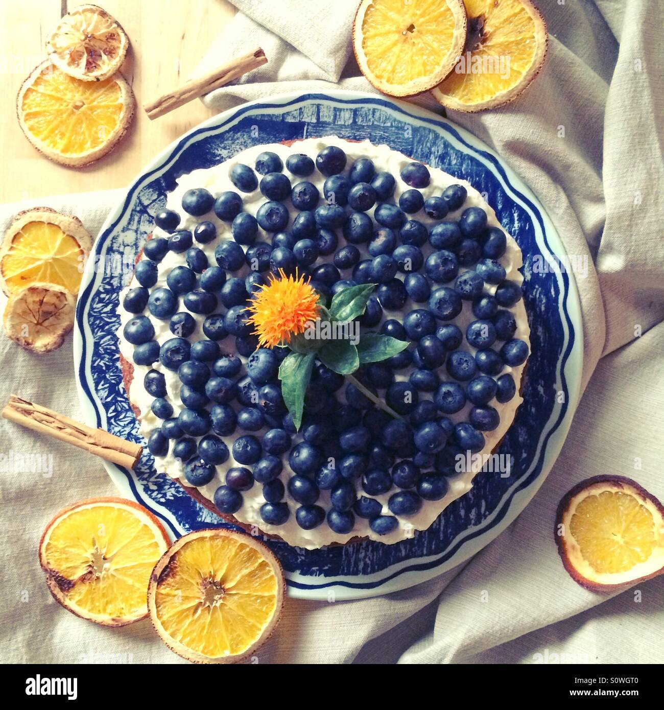Carrot cake with mascarpone cheese and blueberries. - Stock Image