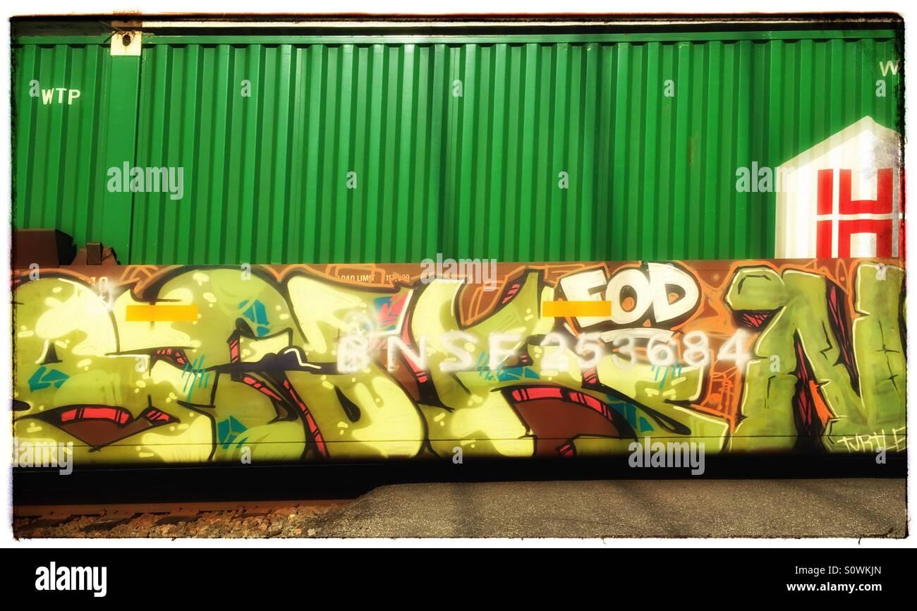 Railroad car with graffiti - Stock Image