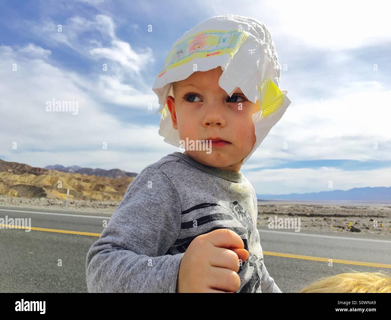 Diaper sunhat! - Stock Image