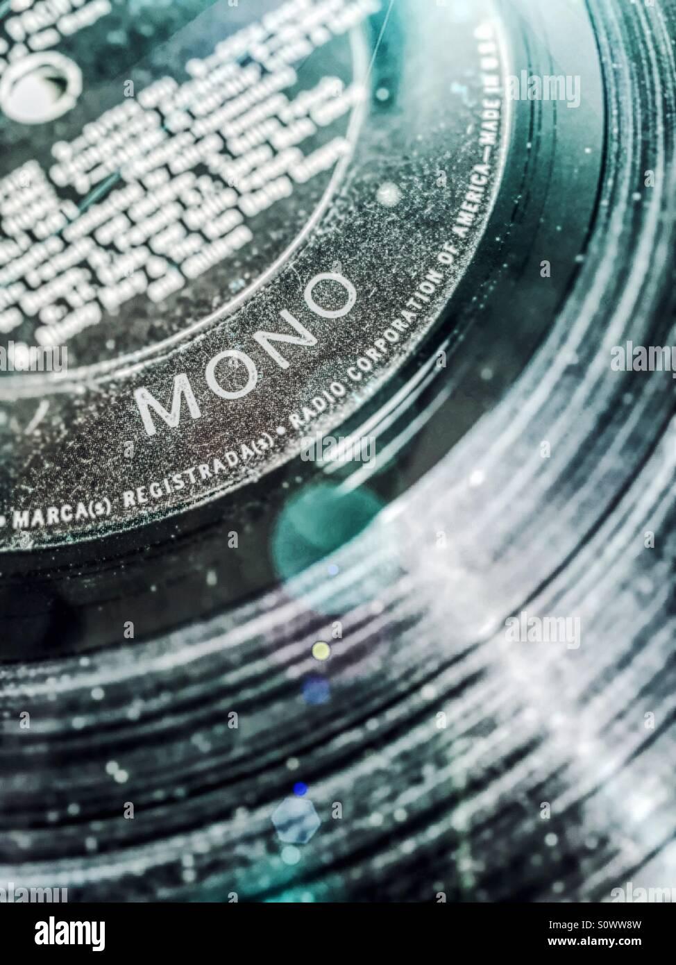 Vintage vinyl longplaying record recorded in mono - Stock Image