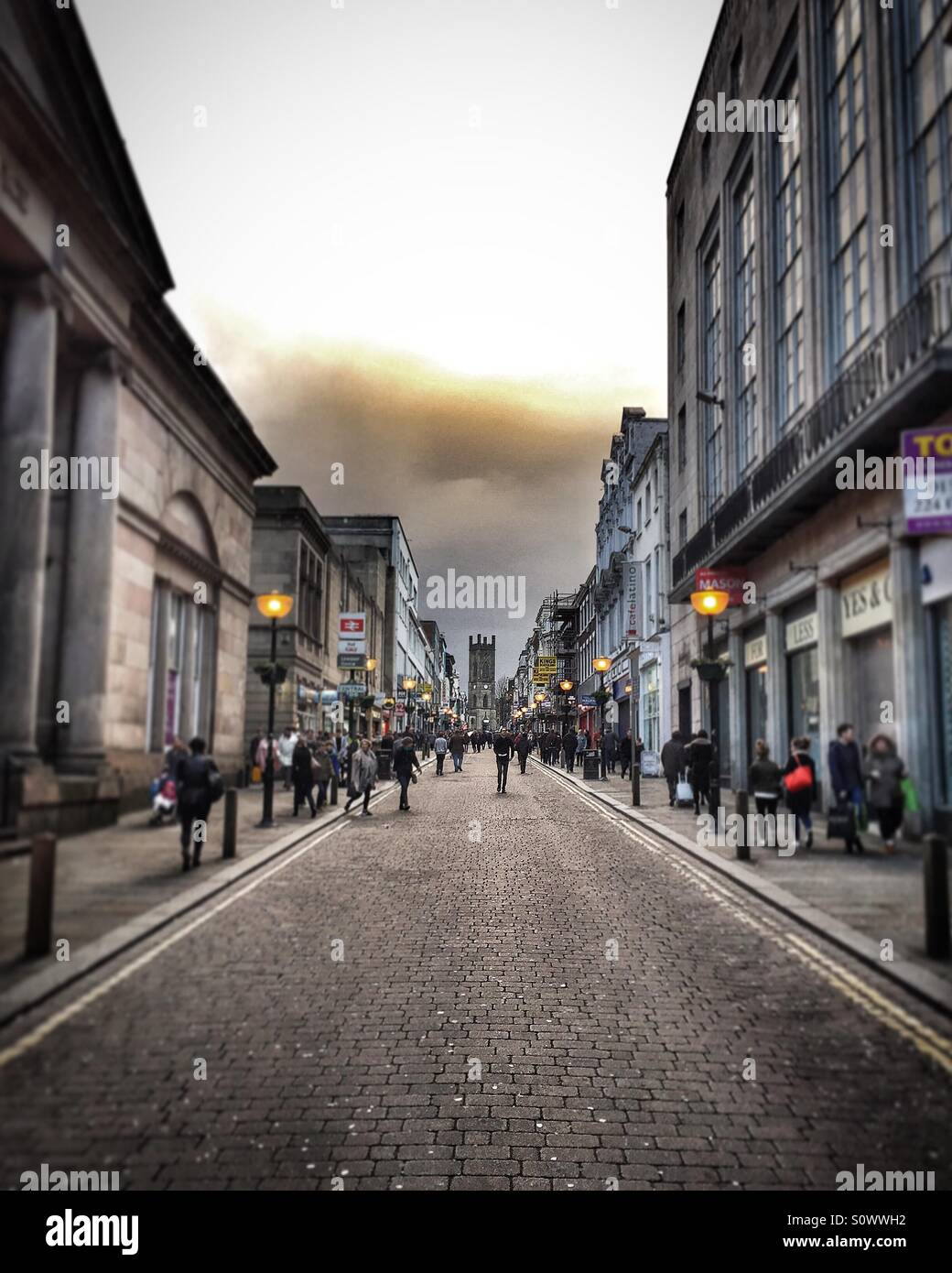 Bold Street, Liverpool on a Saturday evening in March - Stock Image