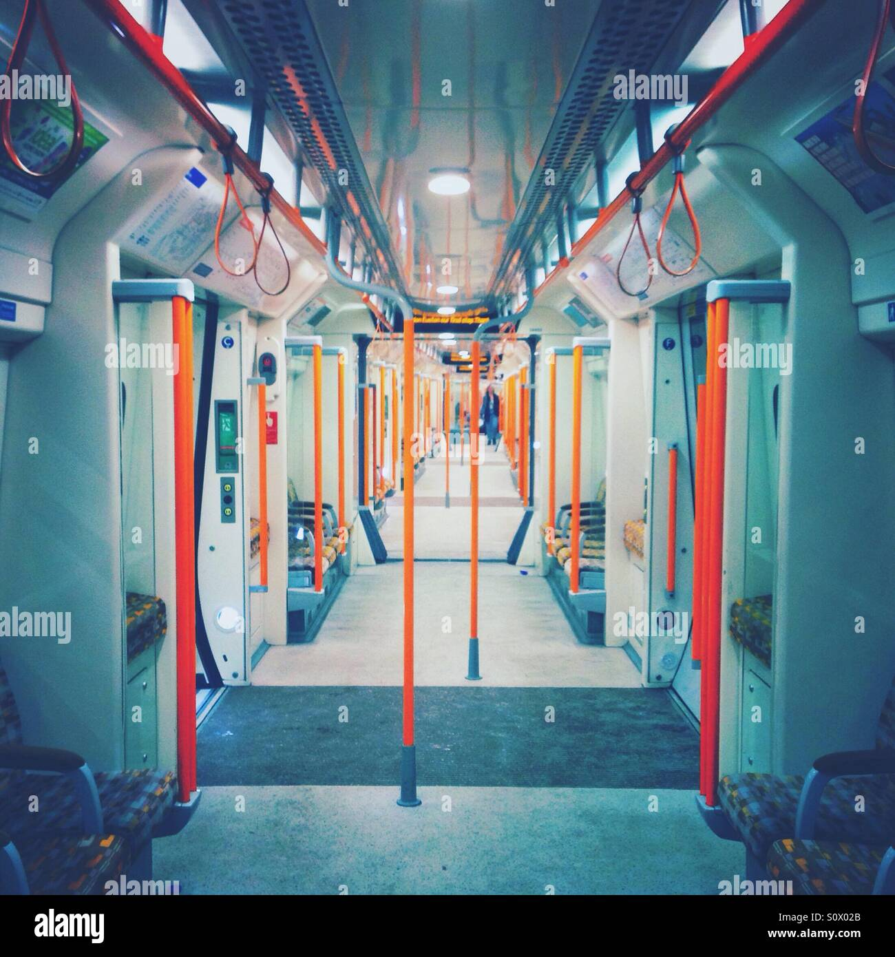 Inside of a London Overground carriage - Stock Image