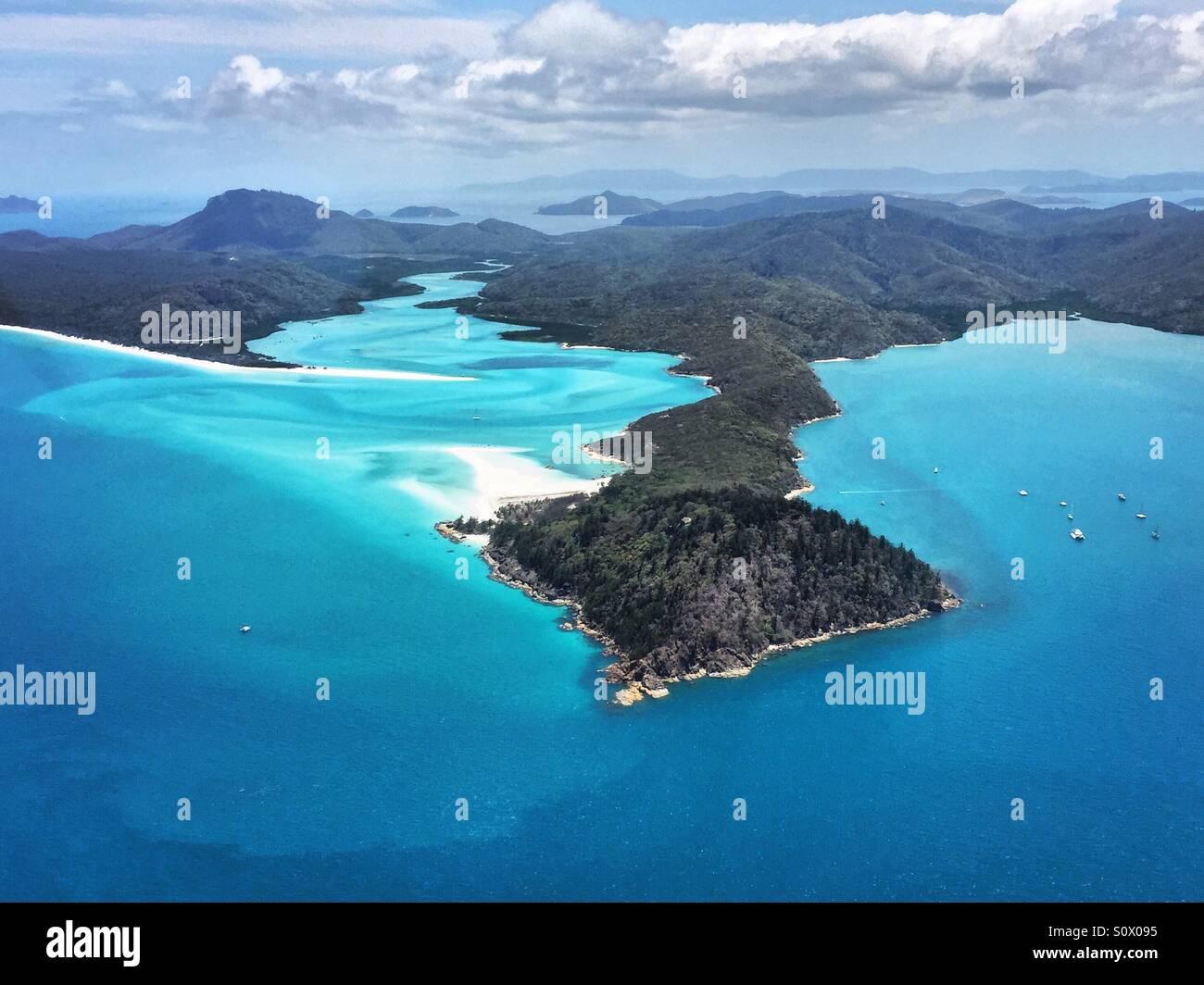Flying over Whitehaven beach in the Whitsundays, Australia - Stock Image