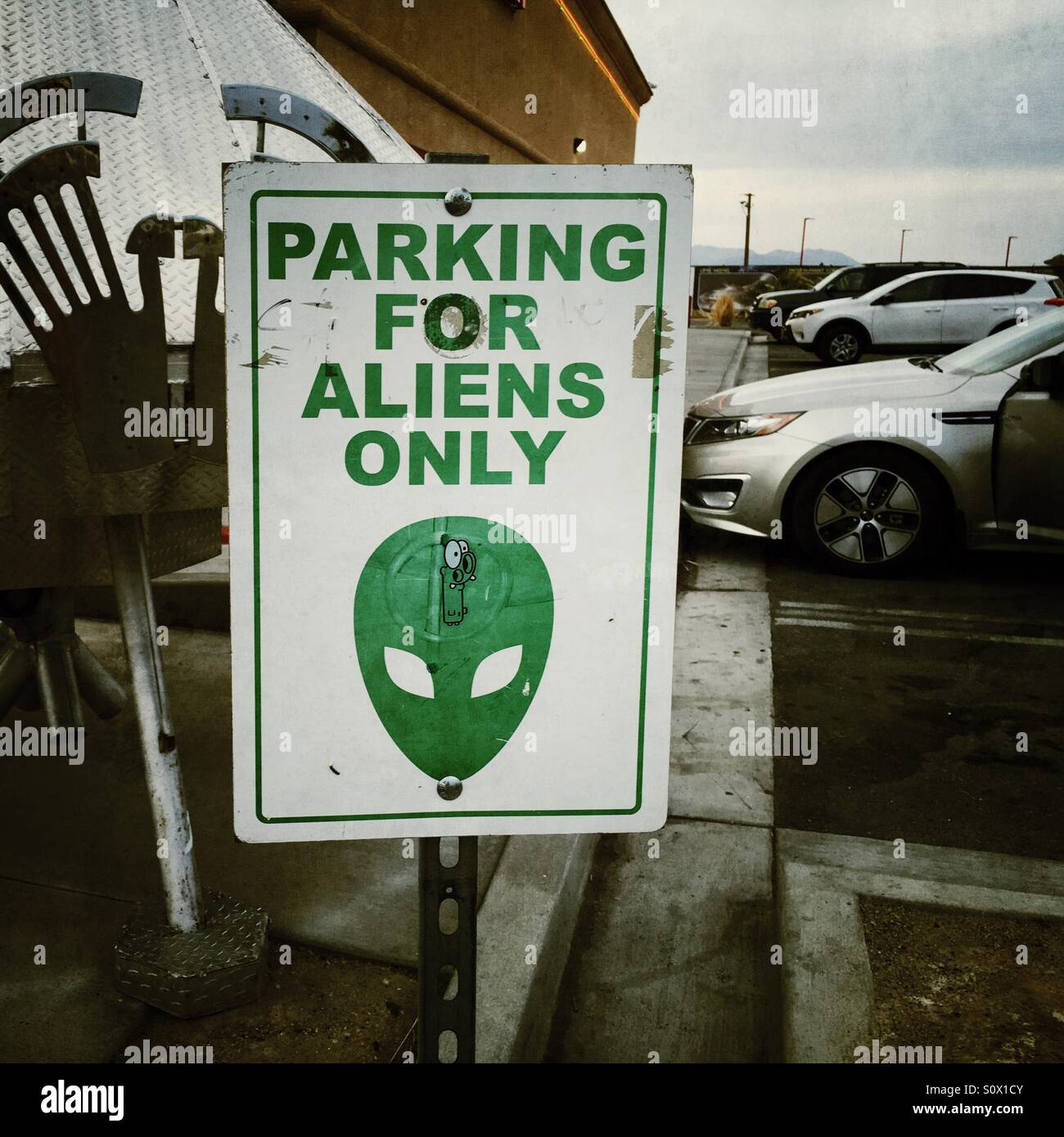 Parking is for Aliens Only - Stock Image
