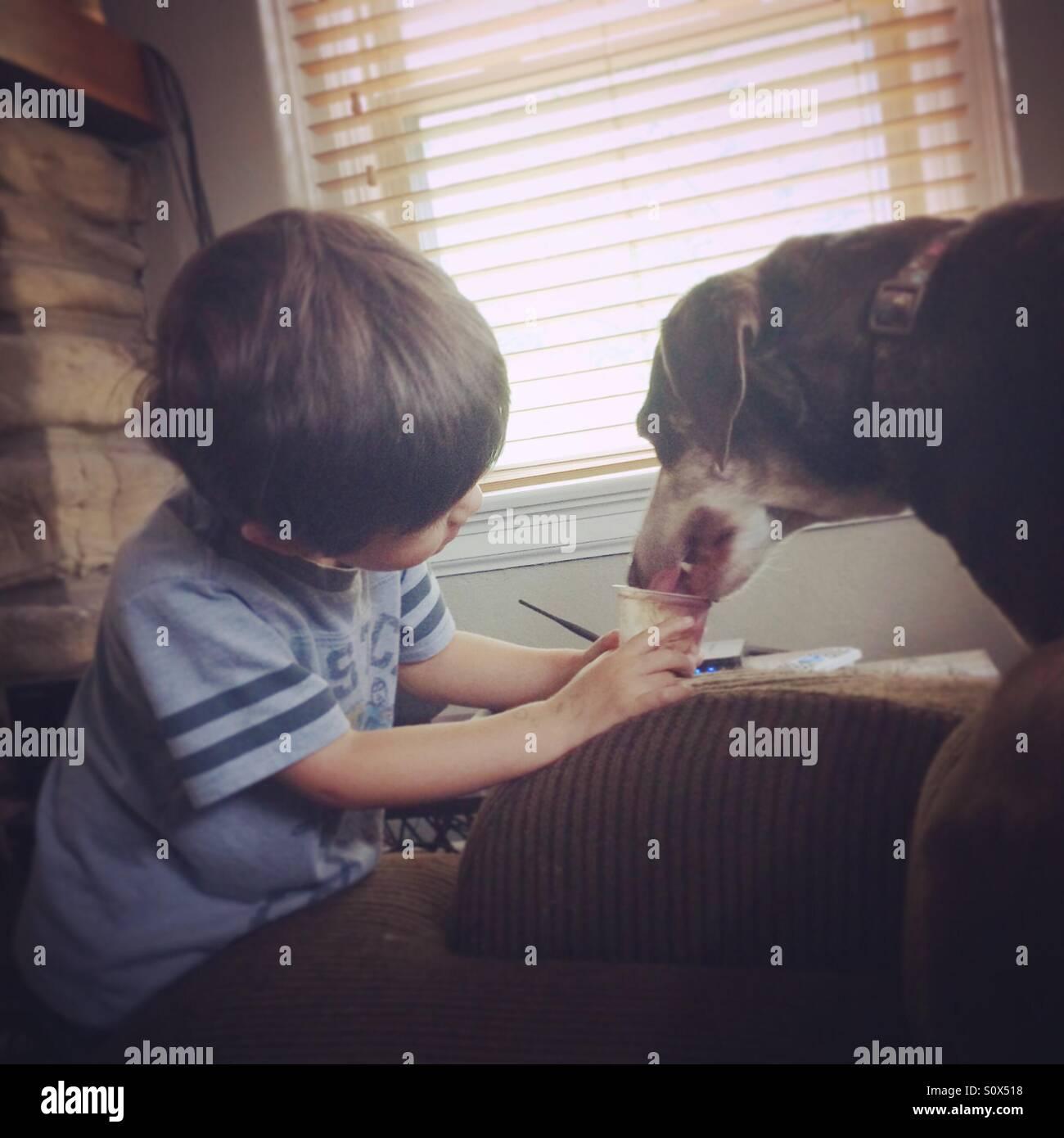 Sharing pudding - Stock Image