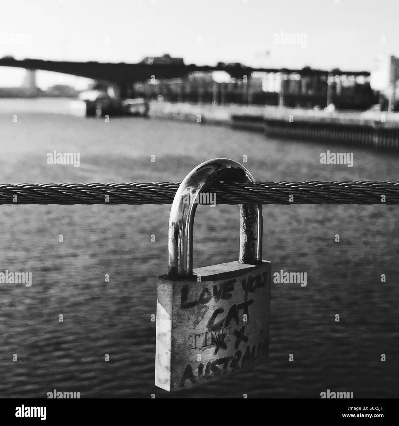 A lovelock on the Tradeston Bridge AKA the Squiggly Bridge in Glasgow, Scotland, UK Stock Photo