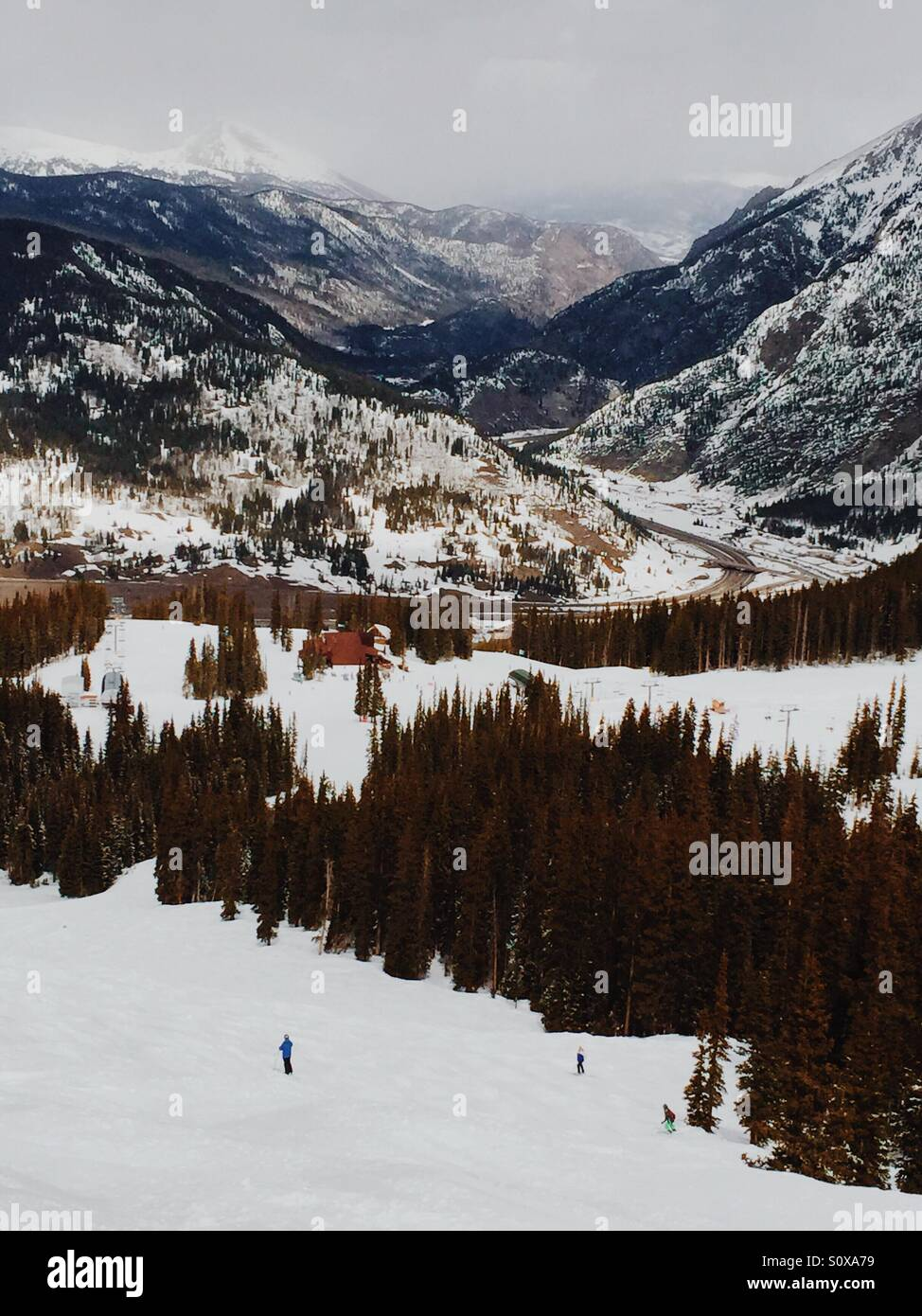 Copper Mountain Ski Area, Colorado. 9 March 2016 - Skiers navigate through moguls from the top of the Hallelujah - Stock Image