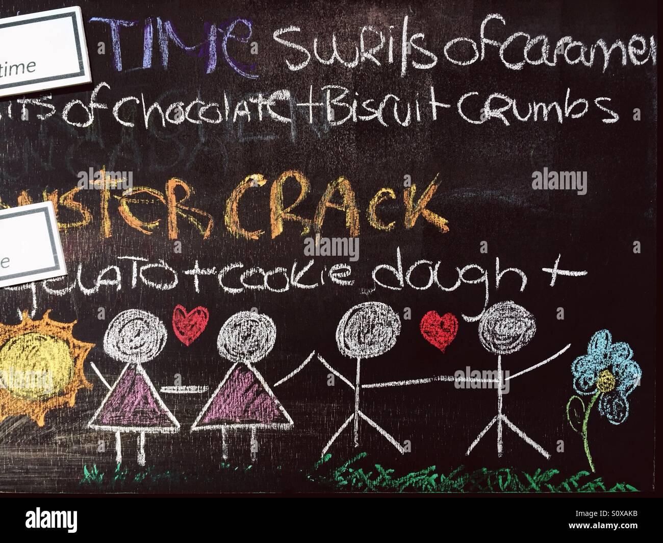 Colorful writings on the blackboard - Stock Image
