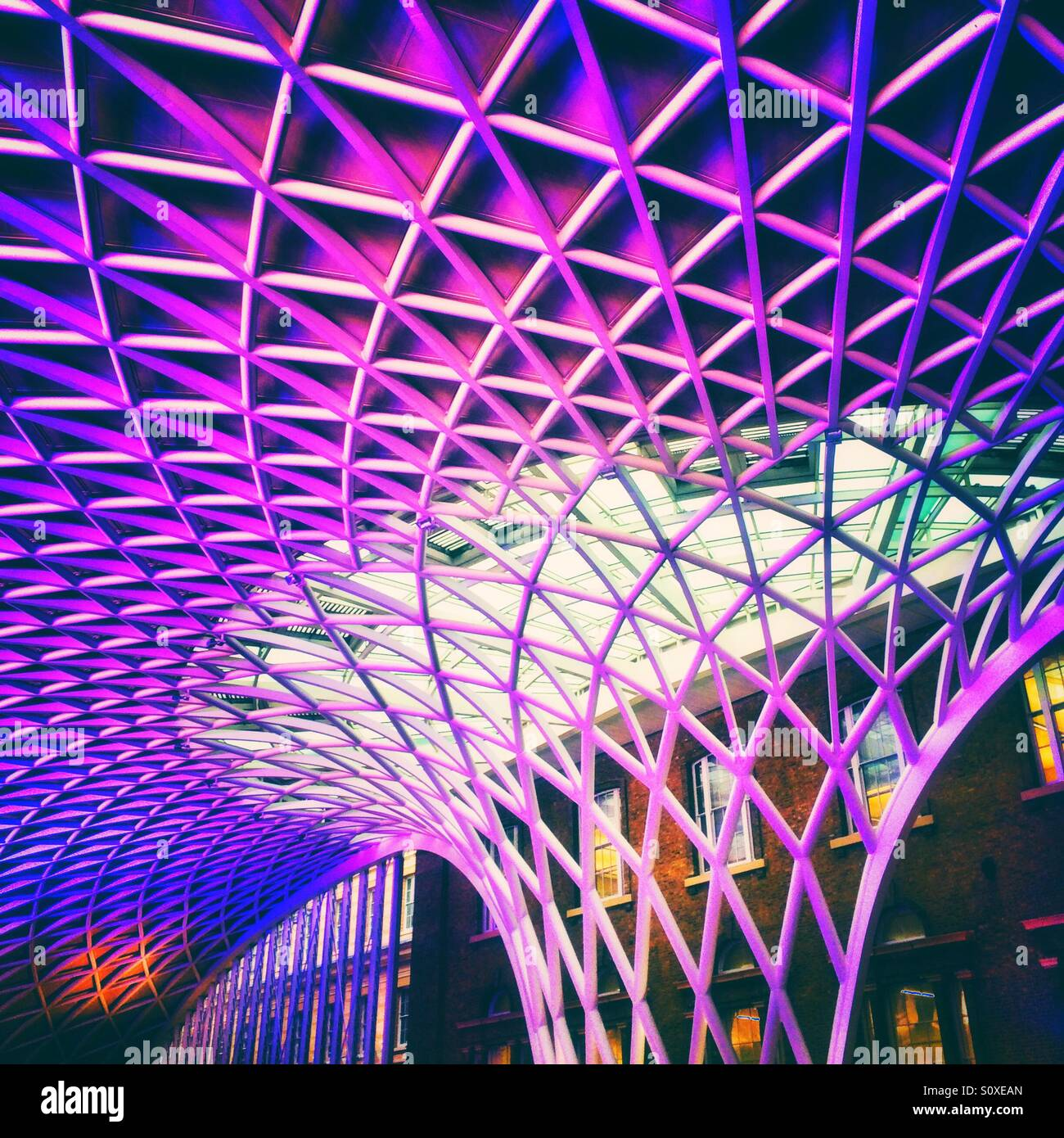 Architectural feature at Kings Cross Station London - Stock Image