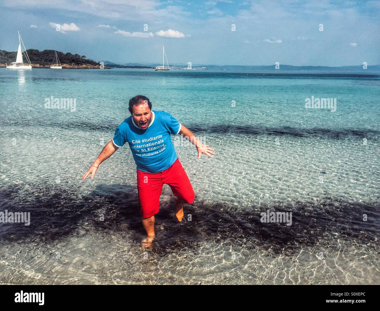 Man cold water grimace - Stock Image