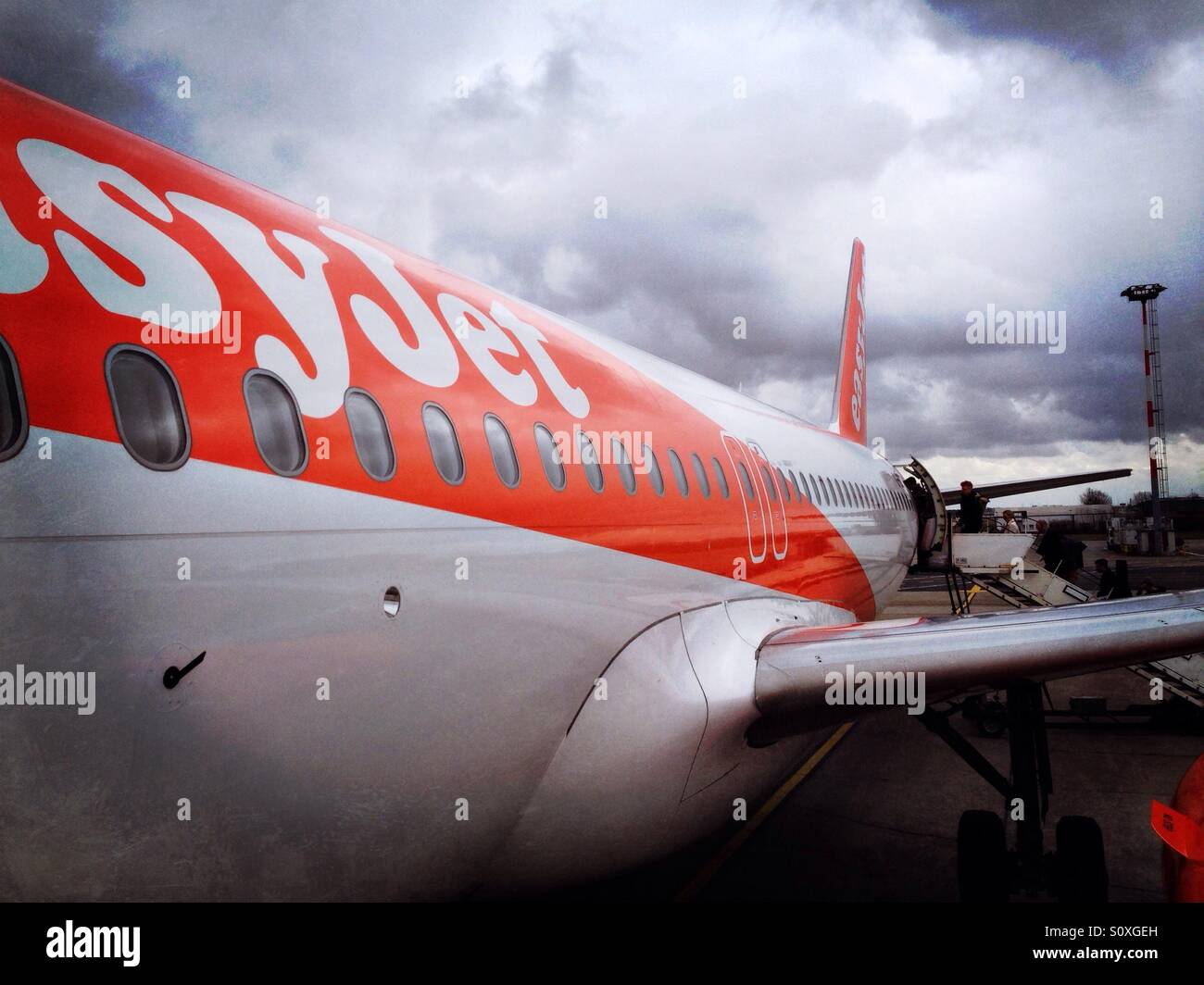 An Easyjet Airbus 319/320 at Schoenefeld Airport in Berlin, Germany - Stock Image