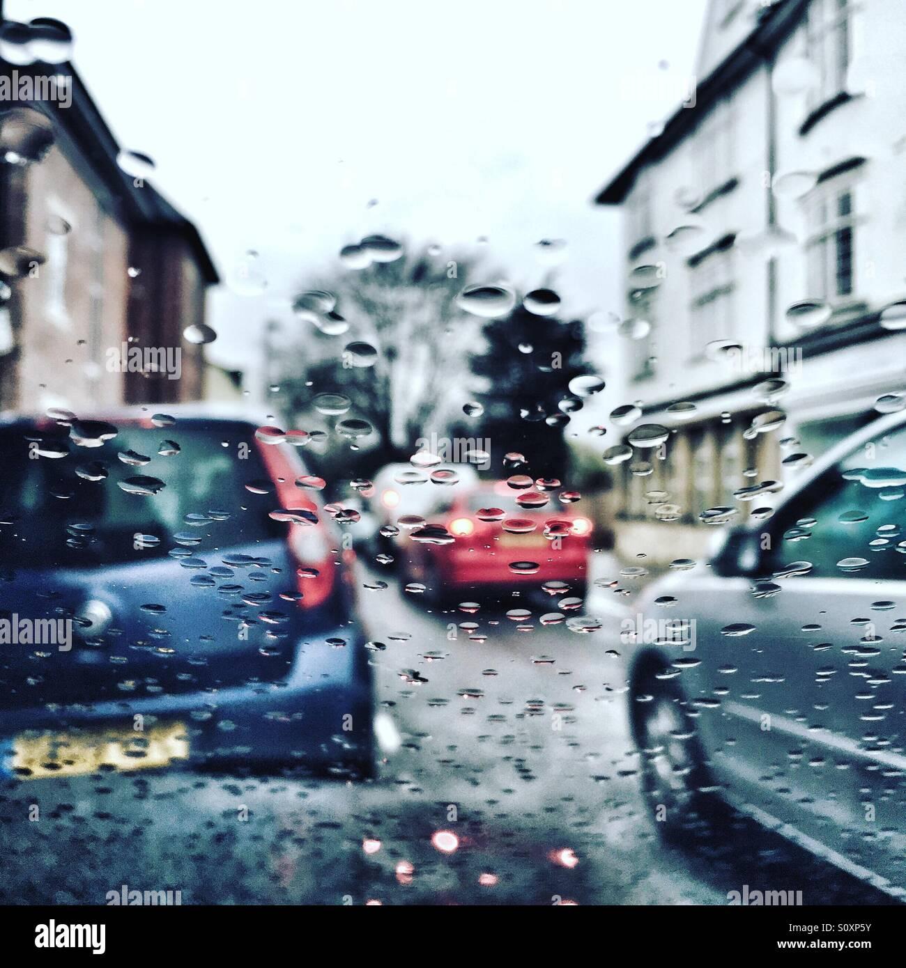 Winter rainy day through car windscreen Stock Photo