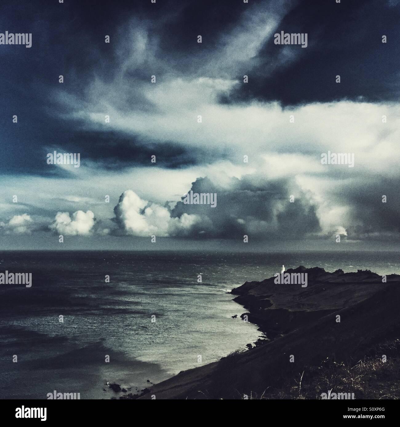 Start Point lighthouse on a stormy day, south Devon Stock Photo