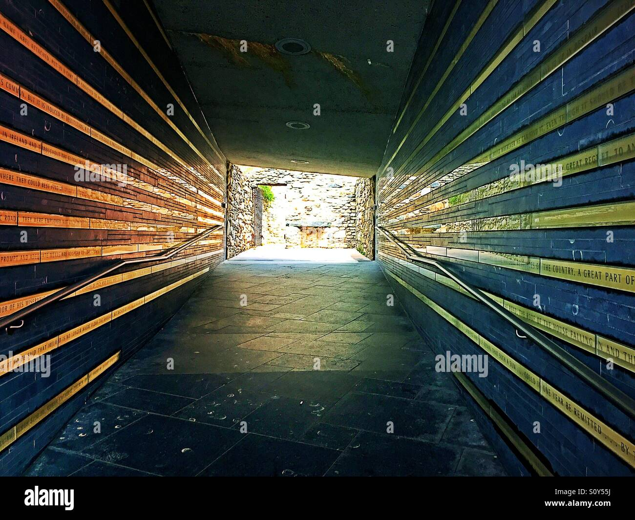 Entrance walkway for the Irish hunger memorial in downtown New York City, USA - Stock Image
