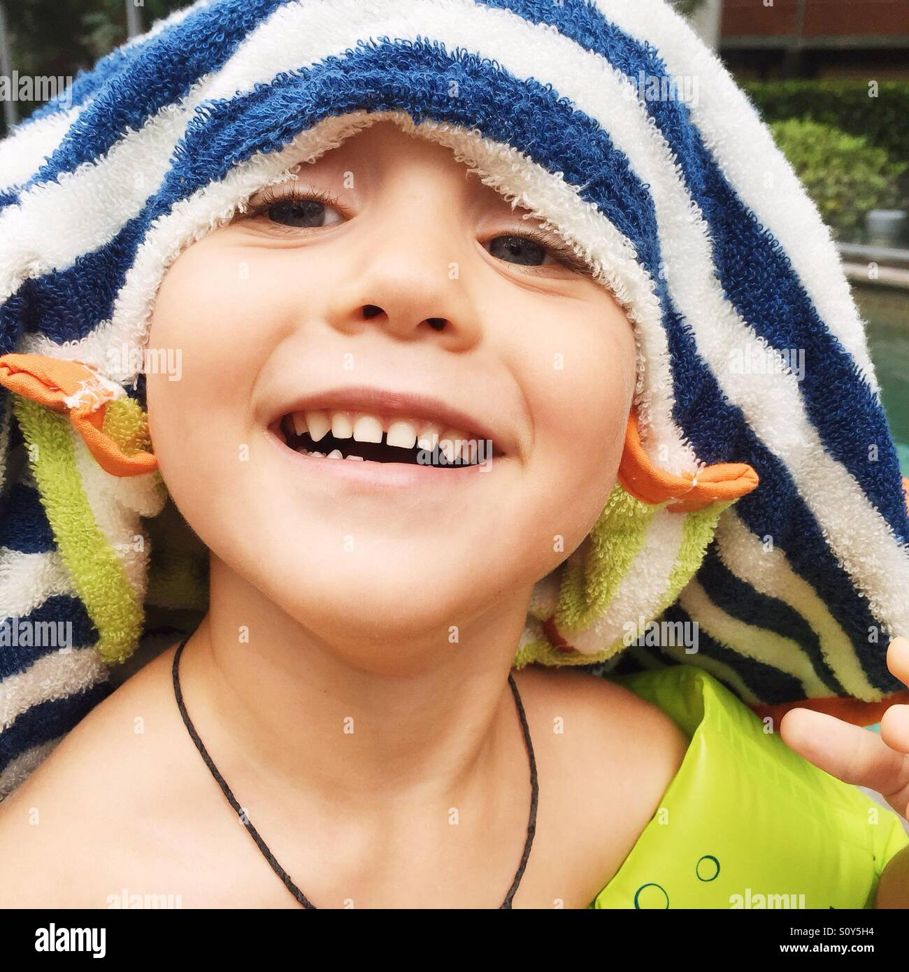 Portrait of a child having fun in summer Stock Photo