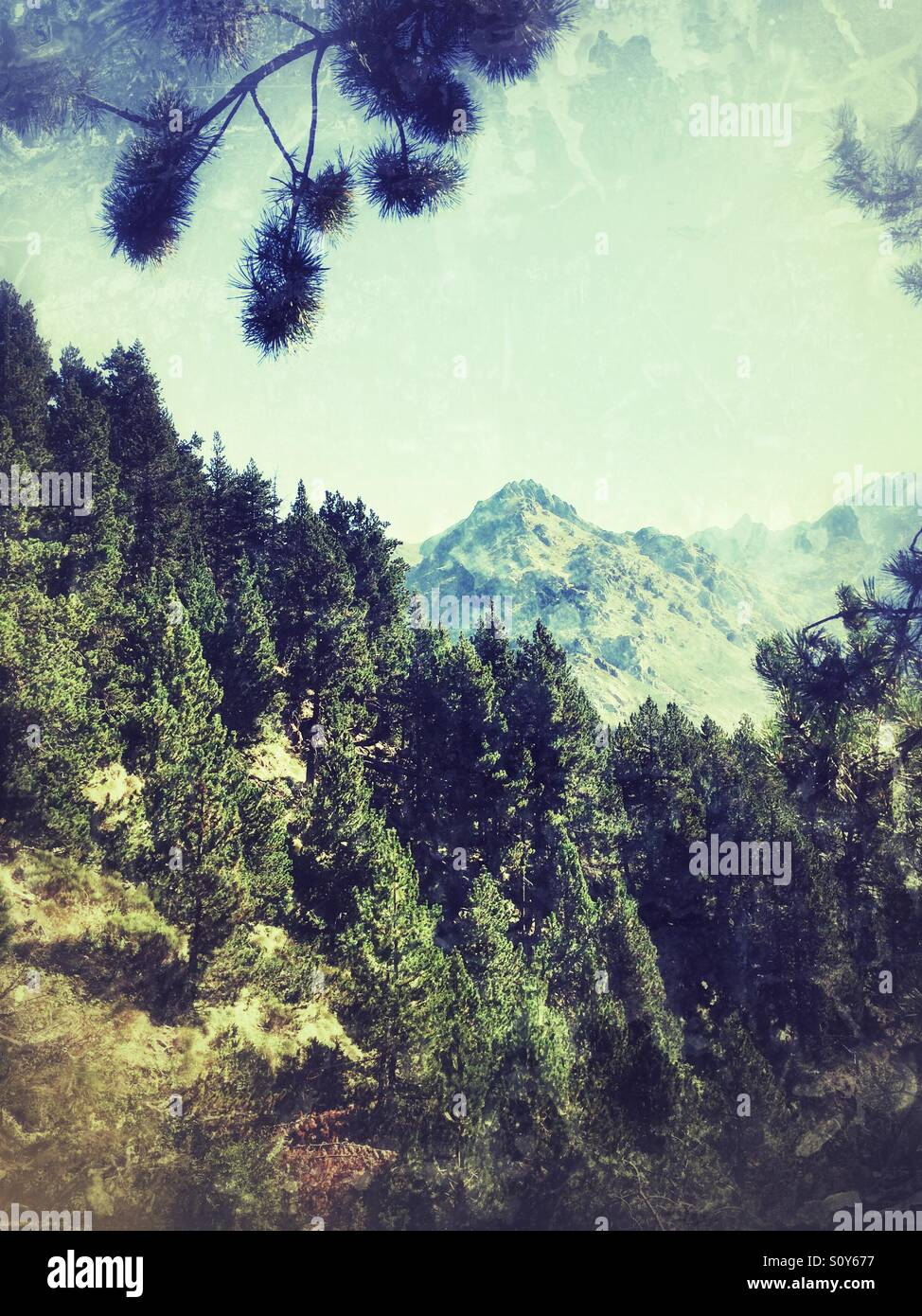A mountain scene in Andorra - Stock Image
