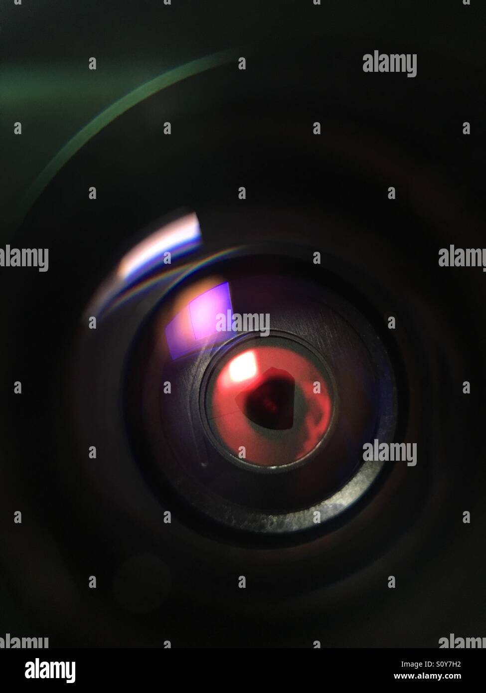 'My big brother' HD security camera, olloclip macro @ 21x magnification. Stock Photo