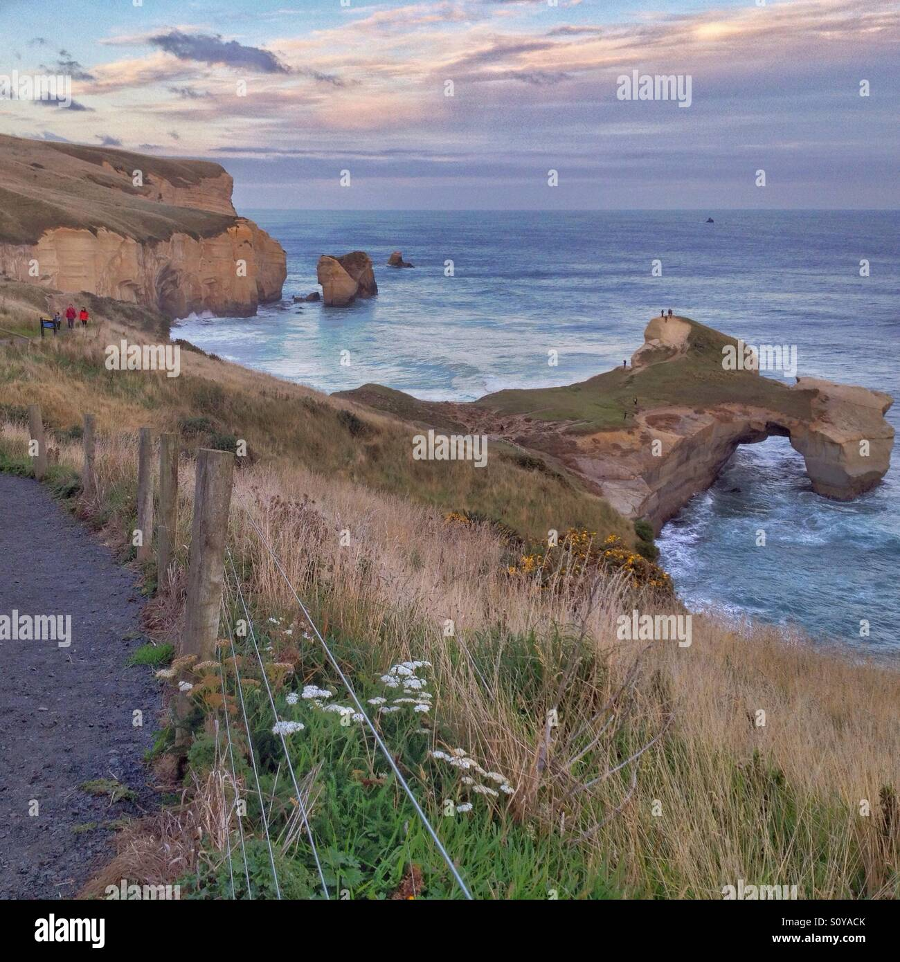 One evening at Tunnel Beach, New Zealand Stock Photo
