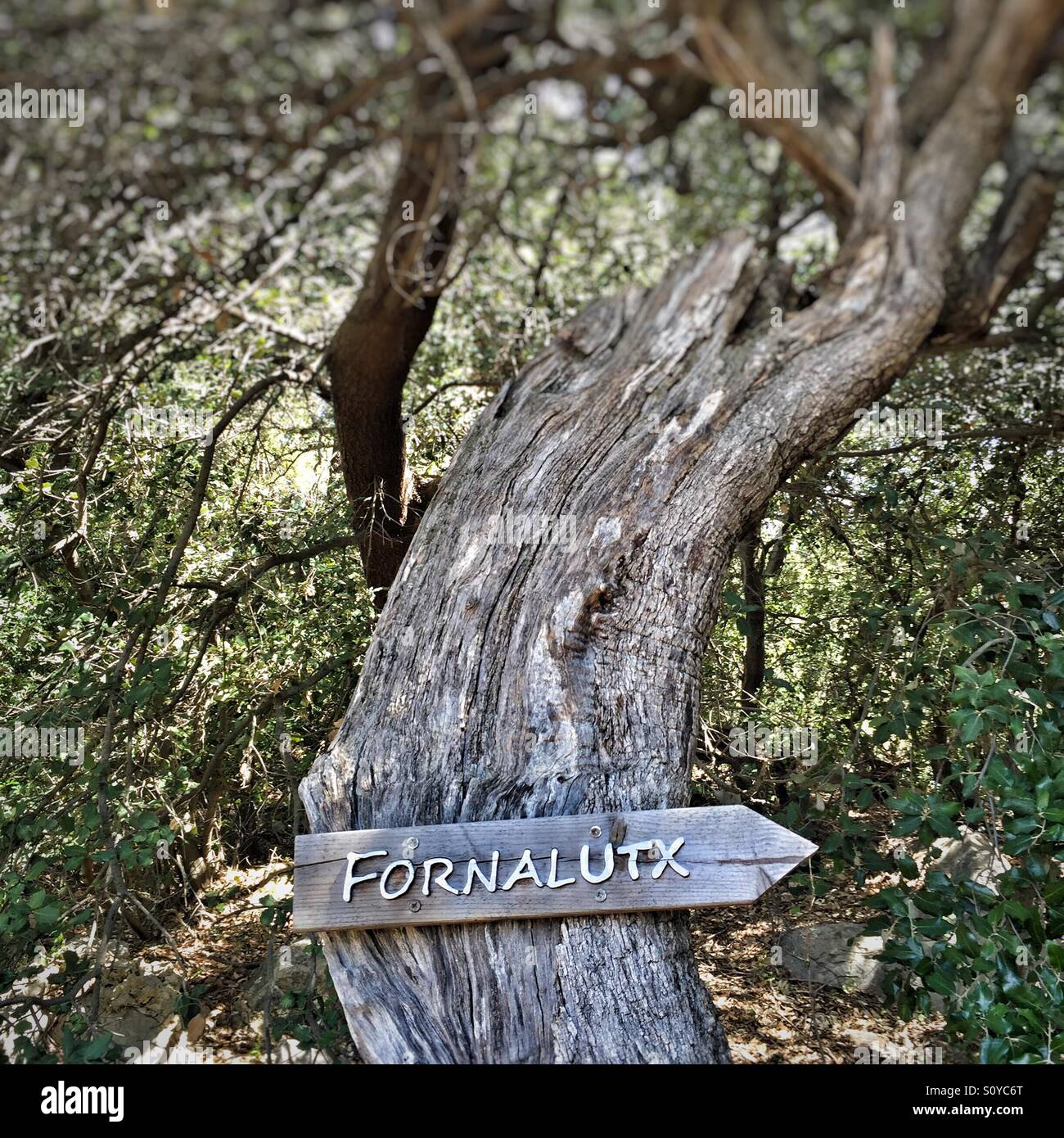 Old rustic signpost to Fornalutx, near Soller in Mallorca Stock Photo