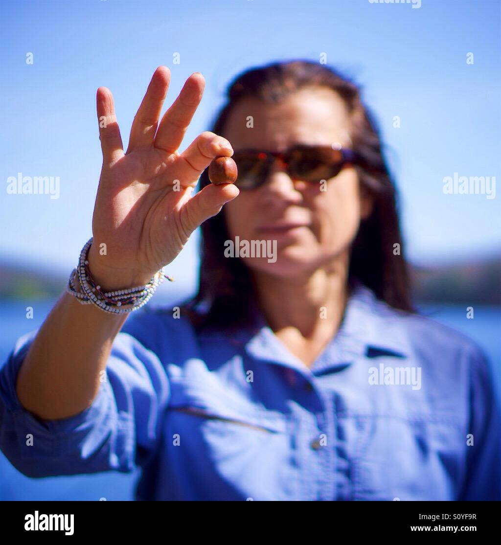 Woman holds an acorn between her fingers with a lake in the background. - Stock Image